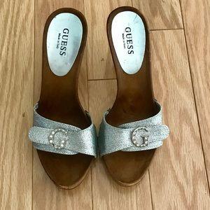 GUESS Italian made silver rhinestone sandals 6